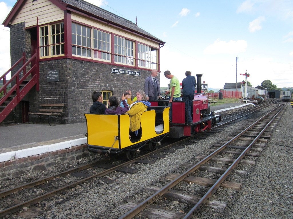 Alice with the Yellow Coach out side the Signalbox