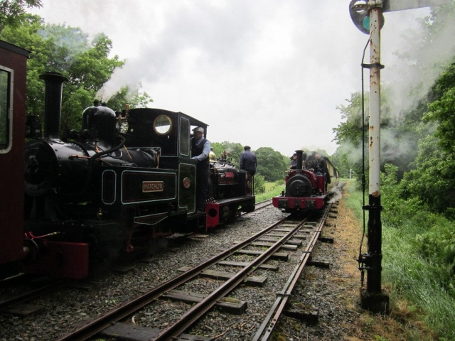 Trains passing at the Llangower Loop