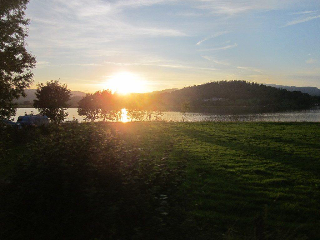 Sunset from an evening train, near Pentrepiod