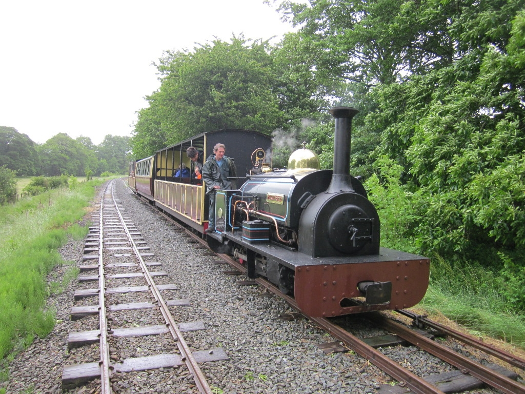 Winifred with a passenger train in the Llangower loop