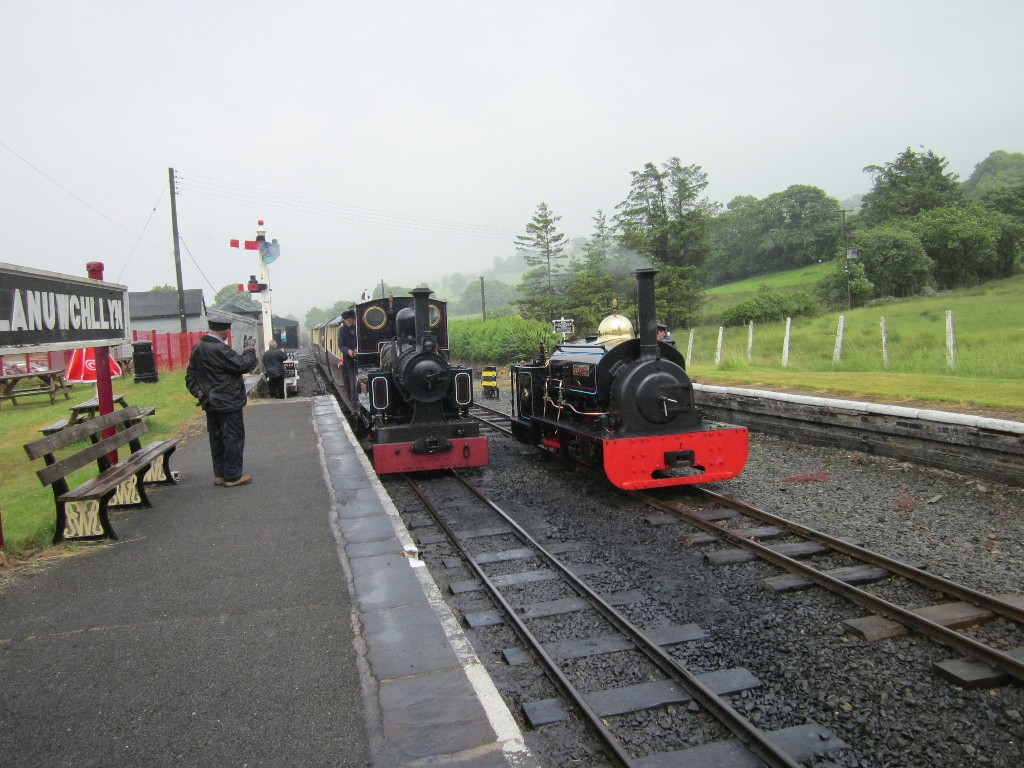 Marchllyn arrives with a passenger train while Gwynedd waits on the loop line