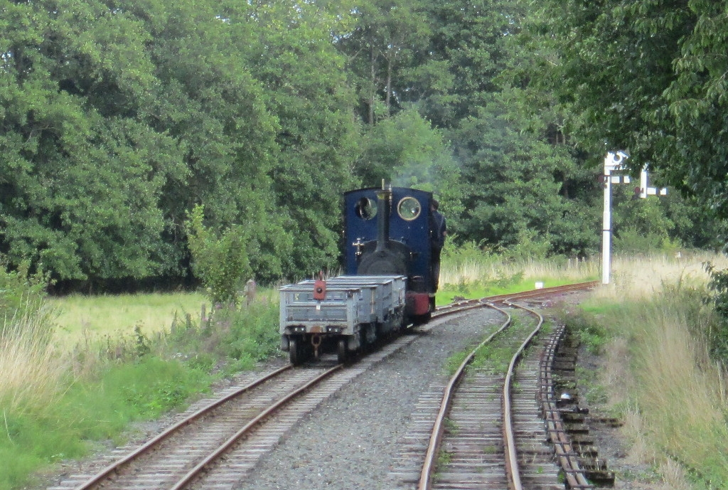 Holy War waits with a slate train at the far end of the Llangower loop