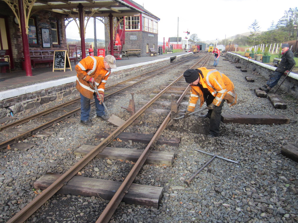 Replacing sleepers on the Llanuwchllyn loop, Feb 2019 working weekend