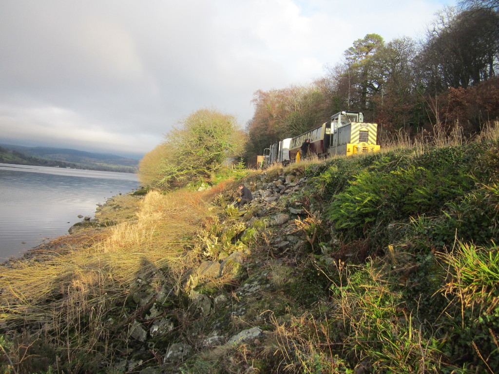 "Diesel ""Bob Davies"" with the works train at Pant yr Hen Felin, Jan 2019"