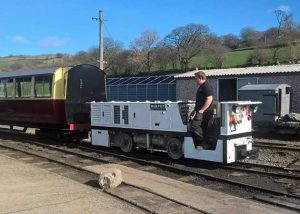 Murphy hauling coaches from the carriage shed