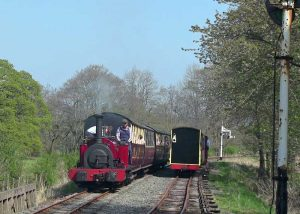 Trains crossing at Llangower over the Easter weekend