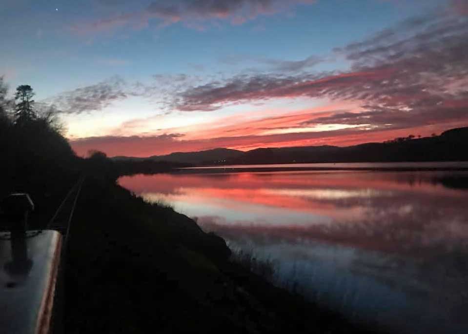 Sunset over Bala lake at the January Working Weekend