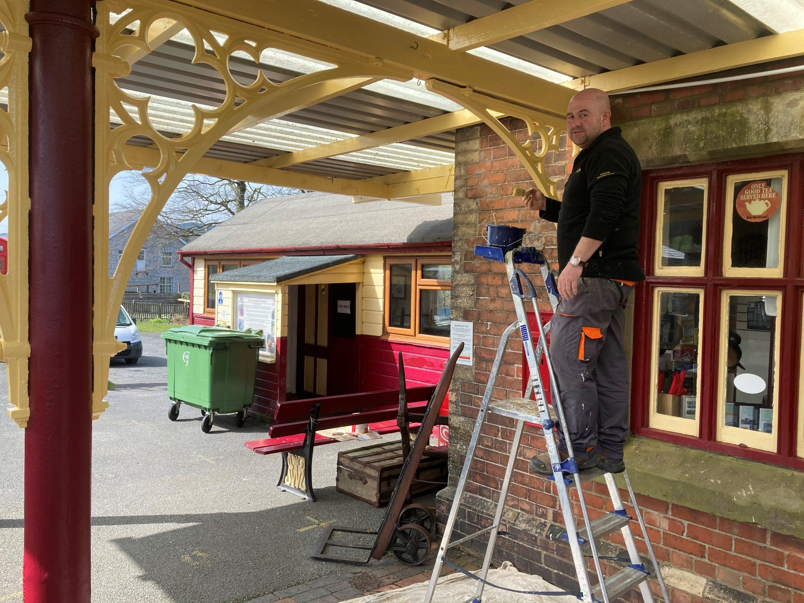 Painting Llanuwchllyn Station Canopy